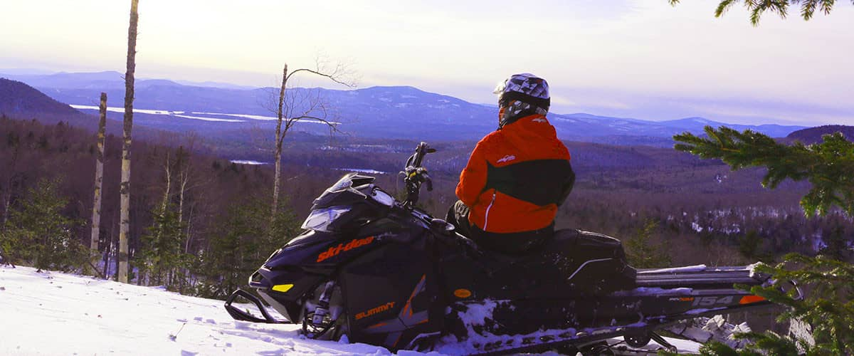 Snowmobiling in Rangeley, Maine